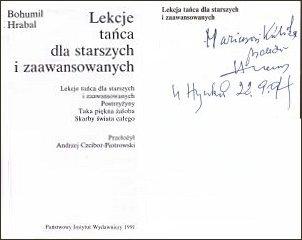 Dedykacja z 1994 roku w tomie 'Lekcje tańca dla starszych i zaawansowanych'(PIW, Warszawa 1991 r.)