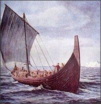 Statek Wikingów na pełnym morzu