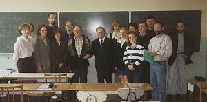 Prof. Lasota i prof. Karol Baron podczas wykładu dla doktorantów