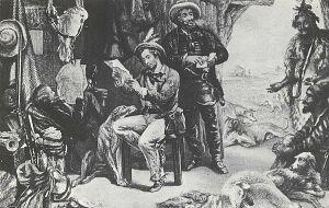 czytanie listu z Anglii przez osadników