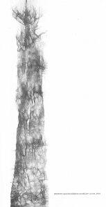 Drzewo, rysunek piórkiem, moduł 29x43 cm, 2001