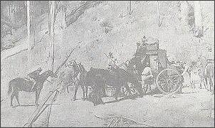 Obraz olejny Toma Robertsa (1856-1931), przedstawiający napad na dyliżans pocztowy w australijskim buszu