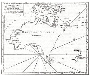 Robert de Vaugondy, noszący tytuł Królewskiego Geografa, naszkicował w roku 1756 mapę Nowej Holandii. Tak wtedy określano ląd australijski. Mapa pokazuje nam stan europejskiej wiedzy o Australii w przededniu wielkich wypraw odkrywczych, które miały dopiero wyruszyć z Europy.
