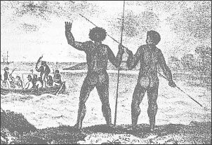 Tubylcy usiłują nie dopuścić do lądowania kapitana Cooka w Zatoce Botany w rejonie obecnego Sydney