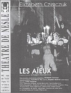 Afisz jednego ze wznowień 'Dziadów' (Theatre de Nesle, Paryż 1999 r.)