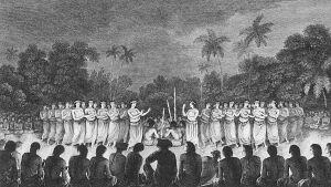 Nocne tany kobiet na Tahiti – malował John Weber, który był uczestnikiem wyprawy Jamesa Cooka