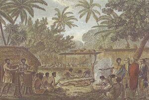 Kapitan Cook ogląda na Otaheite (dzisiejsze Tahiti) ofiarę z człowieka. To również obraz Johna Webera, który był świadkiem wydarzenia