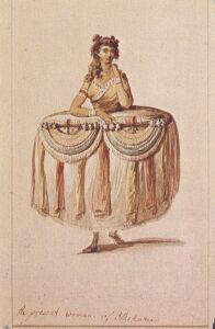 Tak wyobraźnia ówczesnych Brytyjczyków tworzyła wizerunek 'kobiety z ludu' w Polinezji. Zupełna fantazja, ale przedstawienia miały wielkie powodzenie