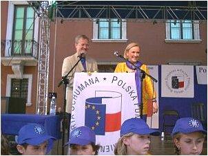 Piotr Nowina-Konopka i Róża Thun - prezes Fundacji