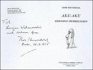 Dedykacja Heyerdahla na norweskim wydaniu 'Aku-Aku' (wrzesień 1957 r.)