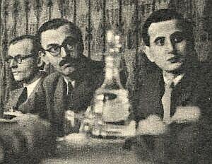 Od lewej: Vincent Buist (''Reuter''), red. G. Ormon (''United Press'') i Lucjan Wolanowski (PAP). Warszawa, 1948 r.