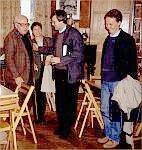 Gustaw Herling – Grudziński, Barbara Toruńczyk, Włodzimierz Bolecki, Marek Zagańczyk. Warszawa, 1.06.1994 r. (Foto: M. Kubik)