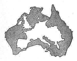 Rysunek ten uzmysławia, jak rozległym kontynentem jest Australia