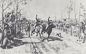 S. A. Lindsey przekazał nam scenkę z wyścigów konnych sprzed stu lat w małej osadzie w Queensland. Tory wyścigowe zakładano od zarania kolonizacji, gdy nie było koni - osadnicy ścigali się na krowach. Pasja do hazardu nie przeminęła z biegiem lat