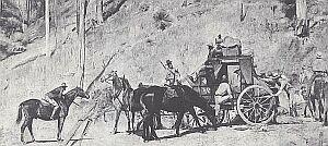 To także znacznie późniejsze karty historii Australii. Tom Roberts namalował charakterystyczną scenkę rodzajową. Gdy było złoto - była i pokusa, aby napadać na transporty. Konwoje ze złotem były silnie strzeżone, ale bandyci wymyślali sposoby na odciągnięcie eskorty
