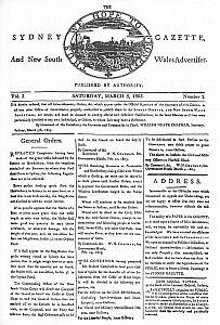 Pierwsza strona wydawanej na początku XIX wieku w Sydney gazety...