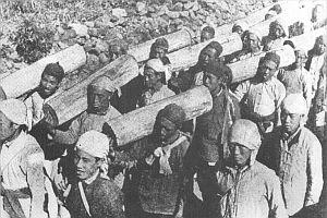 Artyleria partyzancka chińskiej armii czerwonej. Wydrążone pnie drzew, przewiązane kablami telefonicznymi zdobytymi na nieprzyjacielu i naładowane prochem oraz kamieniami. Tak walczono przeciw oddziałom japońskim, które wtargnęły do północnych Chin
