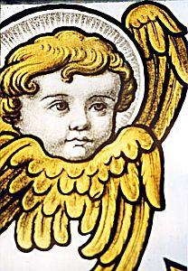 Detal witrażu w kościele p. w. Św. Apostołów Piotra i Pawła