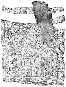 Praca z cyklu: ''Il y a de tout (YADTOUT)'', akwaforta z akwatintą, 1998 (50x66 cm