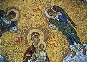 Mozaika przy wejściu do Uspieńskiego Monastyru