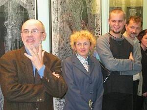Od lewej stoją: Krzysztof Pasztuła, Małgorzata Łuszczak, Grzegorz Hańderek i Józef Knopek