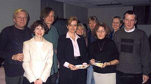 Spotkanie wigilijne University of Toronto (4.12.2003), w środku: prof. Tamara Trojanowska - szefowa programu polskiego (w spotkaniu wzięli udział także: prof. UŚ. dr hab. Marian Kisiel i dr Joanna Kisiel).