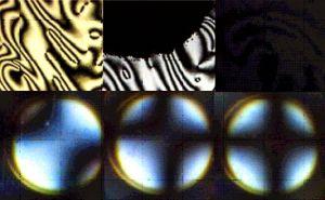 Tekstura i obraz konoskopowy podczas zmiany z fazy jedno do dwuosiowej