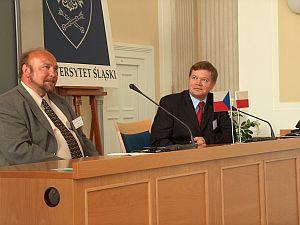 Rektor Slezské Univerzity v Opavě  prof. PhDr. Zdeněk Jirásek i Rektor UŚ prof. dr hab. Janusz Janeczek
