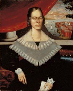 Erastus Salisbury Field. Portret kobiety uznawanej za Clarissę Gallond Cook na tle widoku na miasto