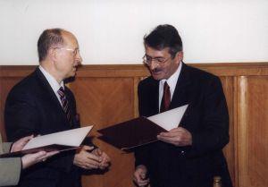 Od lewej: Minister EiN prof. Michał Seweryński, Przewodniczący RGSW prof. Jerzy Błażejowski