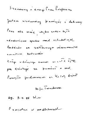 Jeden z listów ks. Jana Twardowskiego do prof. Włodzimierza Wójcika