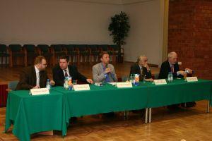 Od lewej: Dr Marcin Gacek, dr Tomasz Słupik, dr Marek Migalski, prof. dr hab. Andrzej S. Barczak, dr Jan Olbrycht