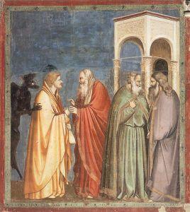 Giotto. Fresk ''Pakt Judasza'' z cyklu ''Pasja Chrystusa'' z kaplicy Scrovegni w Padwie