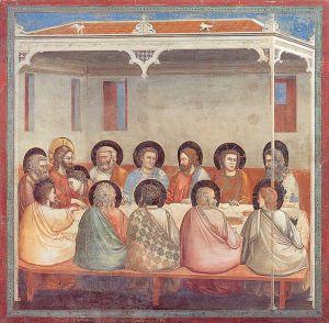 Giotto. Fresk ''Ostatnia wieczerza'' z cyklu ''Pasja Chrystusa'' z kaplicy Scrovegni w Padwie