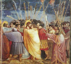 Giotto. Fresk ''Pocałunek Judasza'' z cyklu ''Pasja Chrystusa'' z kaplicy Scrovegni w Padwie
