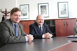 JM Rektor prof. zw. dr hab. Janusz Janeczek i prezydent Katowic Piotr Uszok