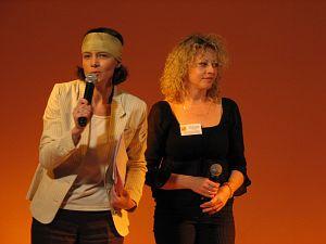 Organizatorki dr hab. Katarzyna Krasoń oraz dr Beata Mazepa- Domagała podczas uroczystości otwarcia Festiwalu