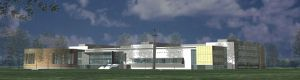 Wizualizacja Śląskiego Międzyuczelnianego Centrum Edukacji i Badań Interdyscyplinarnych w Chorzowie, ul. 75 Pułku Piechoty