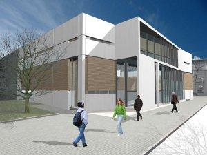 Wizualizacja budynku wielofunkcyjnej hali sportowej w Katowicach, ul. Moniuszki