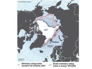 Lody Arktyki i stacja.tif - Mapa zmian zasięgu lodów morskich w Arktyce (wg. UNEP/GRID-Arendal