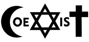 Autorem znaku graficznego 'Coexist' (Współistnienie) jest polski grafik Piotr Młodożeniec. Litera 'C' to muzułmański półksiężyc, 'X' żydowska Gwiazda Dawida, zaś 'T' przedstawione jest w postaci chrześcijańskiego krzyża. Projekt powstał na zamówienie Museum on the Seam w Jerozolimie jako jeden z 36 billboardów wybitnych artystów z całego świata (www.coexistence.art.museum)