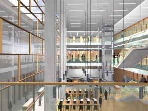 Wizualizacja wnętrz Centrum Informacji Naukowej i Biblioteki Akademickiej UŚ i AE w Katowicach
