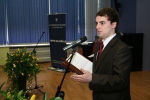 Wystąpienie przedstawiciela stypendystów Wojciecha Kiljańczyka