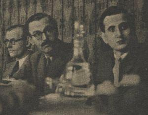 Konferencje prasowe w MSZ, Warszawa, lata 40-te. Lucjan Wolanowski - pierwszy z prawej