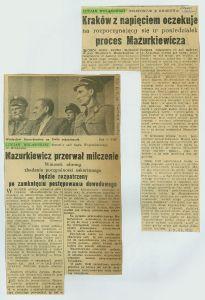 Korespondencje Wolanowskiego z tzw. ''Procesu Mazurkiewicza'' (Kraków 1956) w ''Expressie Wieczornym''