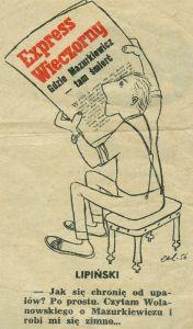 Rysunek Eryka Lipińskiego, drukowany w ''Świecie'' (1.07.1956)