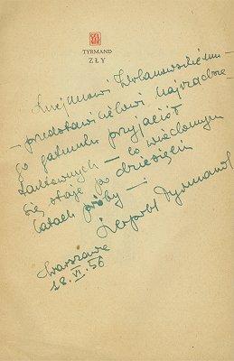 Dedykacja Leopolda Tyrmanda na ''Złym'' (1956 r.)